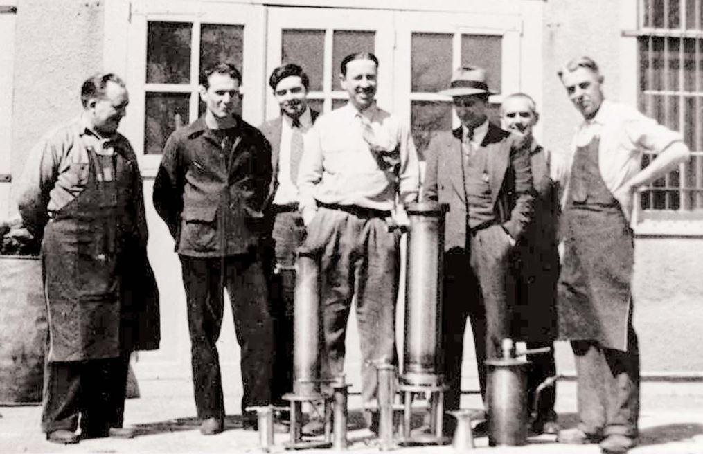 The founders of Reaction Motors, Inc. at their test facility circa 1941.